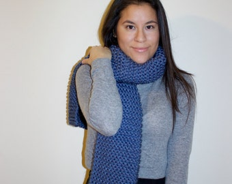 Knit Scarf . Chunky Scarf . Knitted Scarf . Chunky Knit Scarf . Long Scarf . Blue Scarf . Denim Blue Scarf