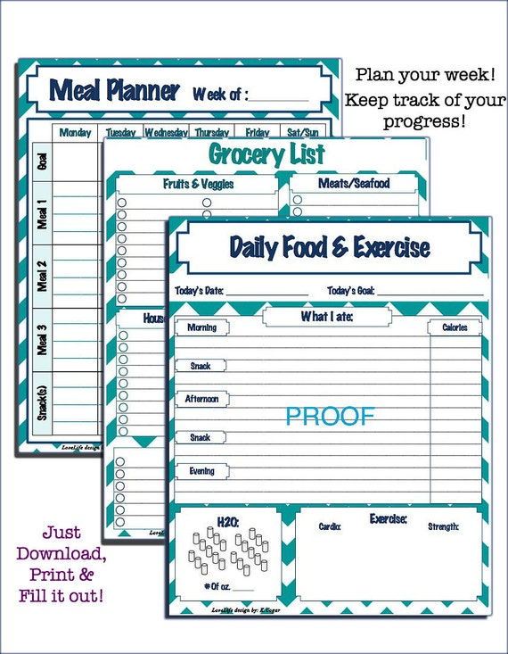 Printable Weekly Meal Planner Grocery List and Daily Food and