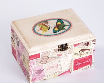 Wood box with decoupage - Butterfly