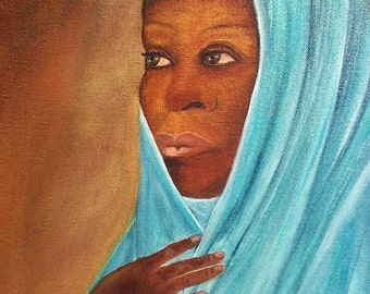 WOMAN in a TURQUOISE SCARF amazing piece of art a unique oil painting. beautiful original painting. Now******* Free Shipping*******