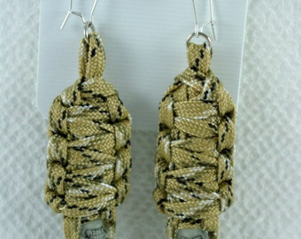 Paracord Mummy Earrings Desert Camo color the skulls glow in the dark