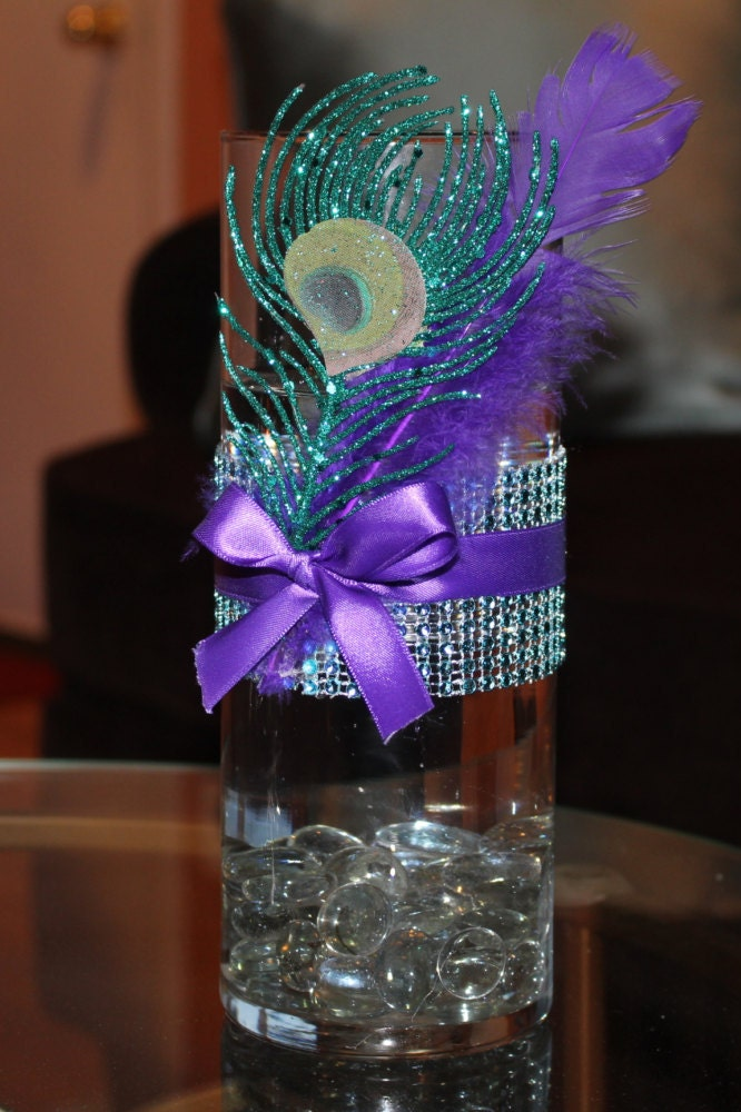Peacock bling centerpiece - Peacock arrangements weddings ...