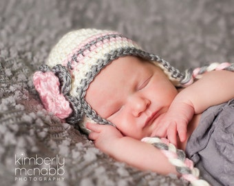 Newborn Girl Hat, Girl Ear Flap Hat, Baby Girl Hat, Crochet Baby Hat, Newborn Photo Prop, Toddler Hat, Baby Girl, Off White Pink Grey