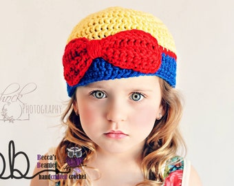 Snow White Crochet Beanie - all sizes - made to order