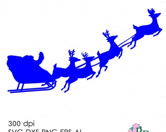 Santa and Sleigh Christmas Deer Reindeer Хмаs Noel (svg, dxf, ai, eps, png) Vector Cut file Silhouette Cameo EasyCutPrintPD