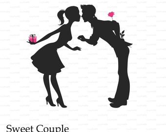 LOVE Sweet couple Valentine's Day lovers kisses paper cut card (svg, dxf, eps, png) file vinyl Overlay decal Silhouette Cameo EasyCutPrintPD