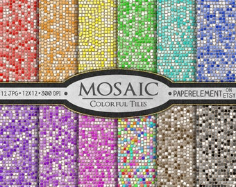 Mosaic Digital Paper: Glass Tile Mosaic Pattern, Mosaic Scrapbook Paper, Mosaic Background, Digital Mosaic Paper, Mosaic Instant Download