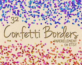 Confetti Clipart: Confetti Clip Art, Confetti Borders, Confetti Overlay, Confetti Graphics, Digital Confetti, Digital Clipart Commercial Use