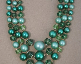 Green 3 Strand Beaded Necklace