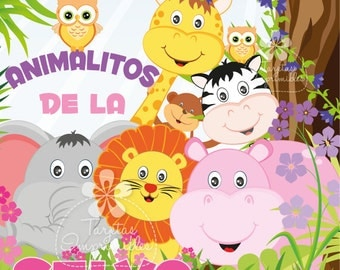 Jungle animals by Girl Kit printable party decorations