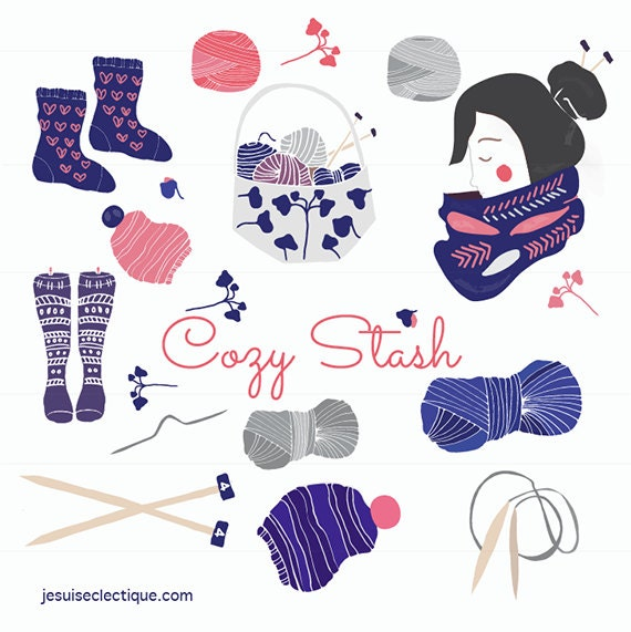 Knitting Hands Clipart : Knitting clip art stitch and needles socks yarn
