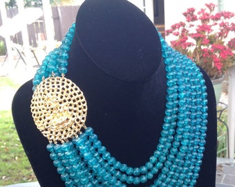 Vintage 8-Strand AquaGreen Beaded Necklace w/Matching Gold Tone Clip Earrings