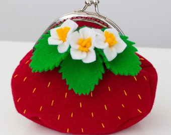 Strawberry coin purse with spring strawberry blossoms and leaves for little (and big) girls in red.
