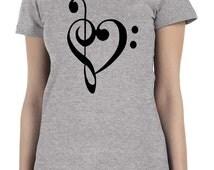 Treble Clef Heart Music Score Choir Band Women's T Shirt -More Colors