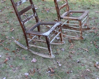 Distressed Antique Rocking Chair