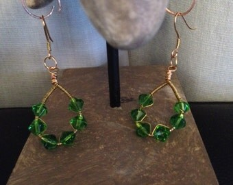 Dangle Earrings Green Glass Bicones