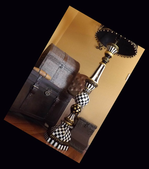 Hand painted black white check floor lamp 68 bulbous for White painted floor lamp