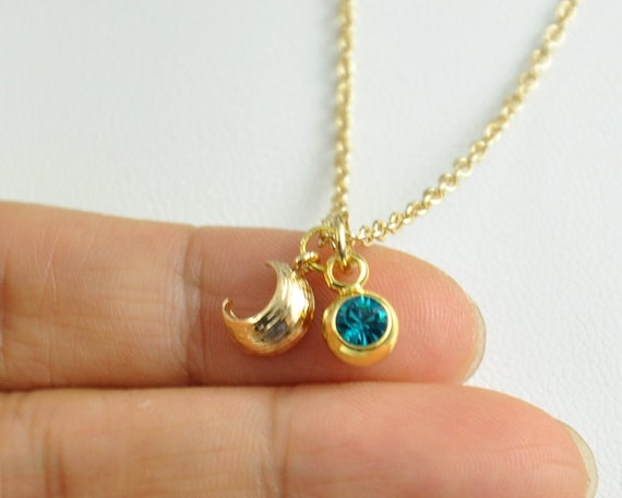 items similar to tiny moon and birth necklace gold