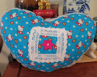 Adorable Hello Kitty Butterflies and Flowers Heart Shaped Pillow