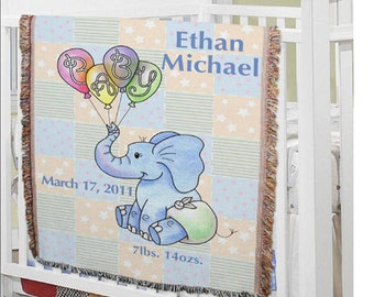 Personalized Baby Elephant Blanket- Boy or Girl Design