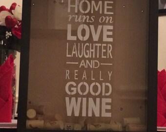 Wine Cork Holder Frame - This Home Runs on Really Good Wine