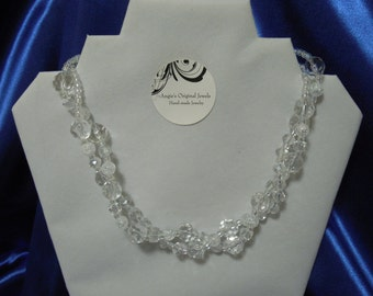 Chunky Crystal Necklace Clear White Crystal ChunkyTwo Strand Necklace Statement Handmade Necklace April Birthstone