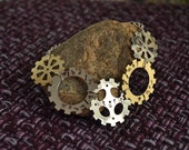 Wibbly Wobbly Timey Wimey - Doctor Who - clock cogs necklace in silver and gold colored metal
