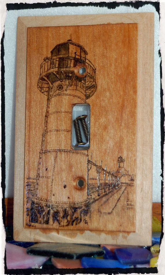 Lighthouse switch plate cover wood burned by beautifulpursuits for Lighthouse switch plates