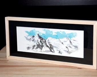Aquarelle originale - cadre Aiguille du Midi