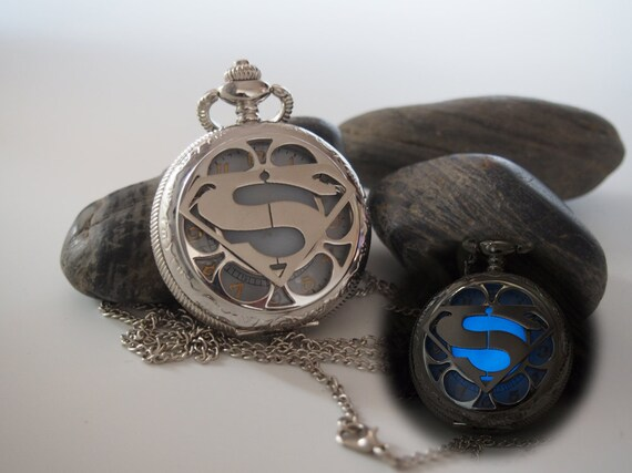Glowing Stainless Steel Superman Pocket Watch By