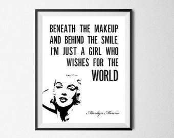 Marilyn Monroe Quote Print, Printable Poster, Inspirational Art, Digital Download, Beneath The Makeup, Marilyn Monroe Quote Art, Home Decor