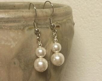 Double Swarovski Pearl Drop Earrings