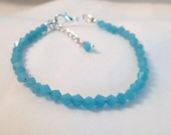 Crystal Bracelet - Blue Jade Crystal Bracelet -