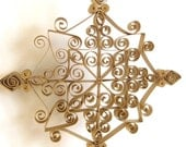 Handmade Gold Coated Paper Quilled Snowflake: Christmas Ornament or Decoration
