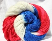 Hand dyed yarn, red / white / blue variegated yarn, sparkle yarn, glitter yarn, fingering weight, sock yarn