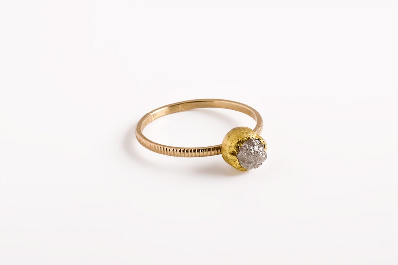 Rough diamond ring engagement Gray diamond ring raw diamond