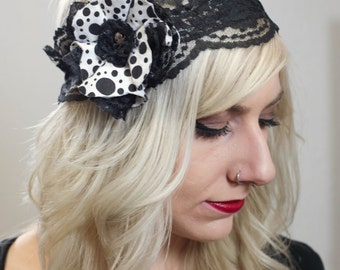 Polka Dot Lace and Skull Flower Headband, Black and White, Punk, Rockabilly