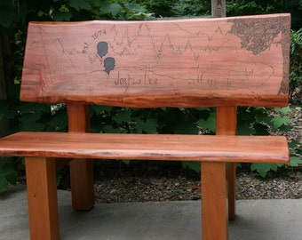 Wood Bench of Spalted Maple & Honduras Mahogany with Woodburned Inscription