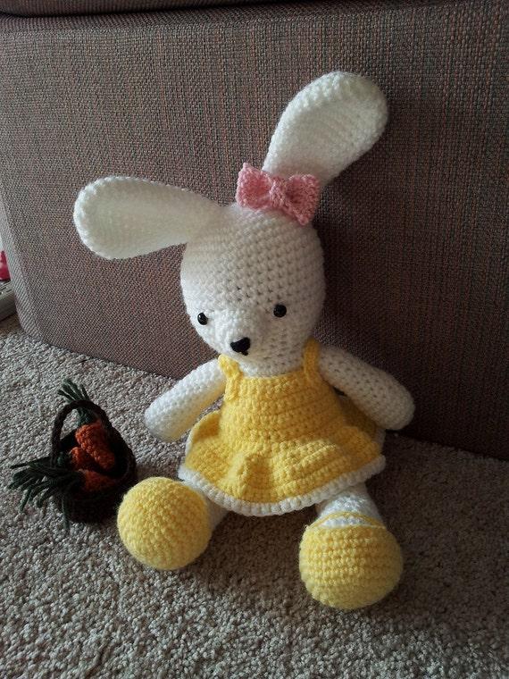 Amigurumi Bunny In Dress : Amigurumi crochet stuffed white bunny wearing yellow dress and