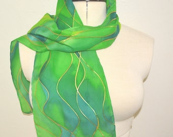 Green and Gold Waves Scarf – Hand painted 100% Habotai silk scarf