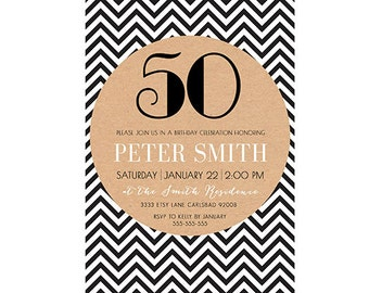 Adult Birthday Party Invitation, Male, Simple, Chevron, Black and White, Printable (51)