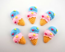 6 kawaii double ice cream waffle cone with hearts cabochons - decoden sweets - dessert - cellphone deco DIY - resin - pink and blue