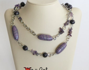 Free Shipping Handmade Contemporary Necklace Pink-Purple Abstract Pattern Clay Beads and Amethyst Gemstones Connected with Silver Tone Chain