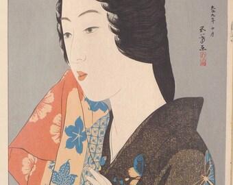 "Japanese Ukiyoe, Shin-hanga, Woodblock print, antique, Hashiguchi Goyo, ""Woman with a Hand Towel"""