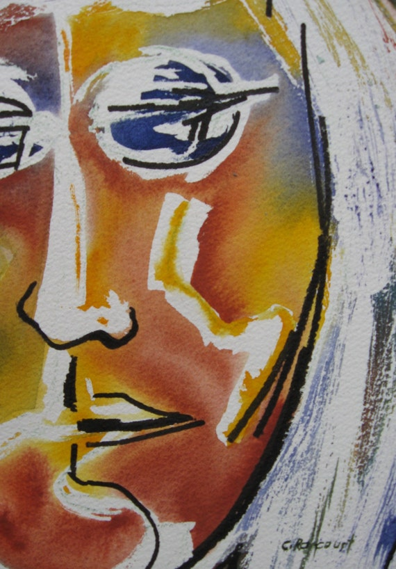 Bold Abstract Portrait Original Watercolor Face Picasso