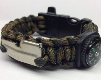 "Paracord Survival Bracelet ""The War-Dogg"" with Fire Starter Buckle, Compass, Whistle, P-38 Multi Tool, Handmade, Survival, Hunting, Hiking"