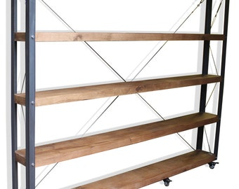 KONK! BIG Oak Bookcase, Shelving INDUSTRIAL [Bespoke sizes!]