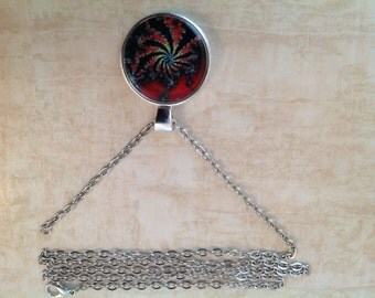 Red Fan Fractal Necklace