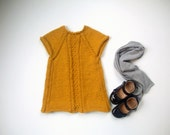 Handmade Rice Grain Knit  Infant Dress in Mustard - 3 to 6 months old - ready to ship