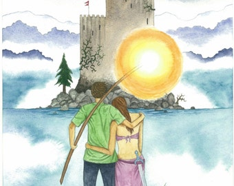 Original Watercolor Print, Merlin and Lady of the Lake, Camelot, Fantasy, Modern Fairy Tale, Ancient Castel, Excalibur, Magic